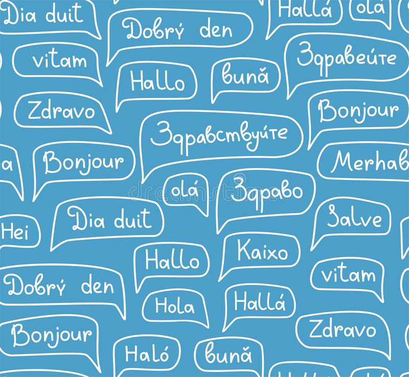 Γειά σου, ευρωπαϊκές γλώσσες, άνευ ραφής σχέδιο, σχέδιο περιγράμματος, μονοχρωματικός, μπλε, διάνυσμα διανυσματική απεικόνιση