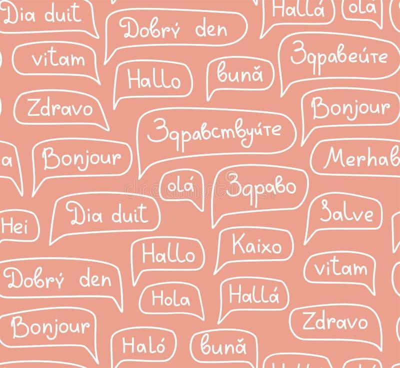 Γειά σου, ευρωπαϊκές γλώσσες, άνευ ραφής σχέδιο, σχέδιο περιγράμματος, μονοχρωματικός, ρόδινο, διάνυσμα απεικόνιση αποθεμάτων