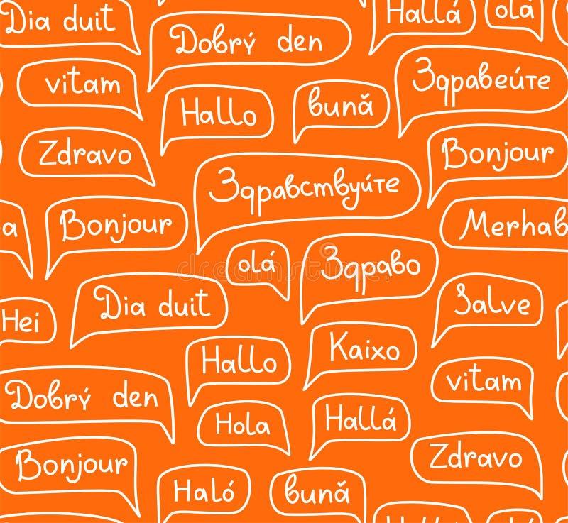 Γειά σου, ευρωπαϊκές γλώσσες, άνευ ραφής σχέδιο, σχέδιο περιγράμματος, μονοχρωματικός, πορτοκαλί, διάνυσμα διανυσματική απεικόνιση
