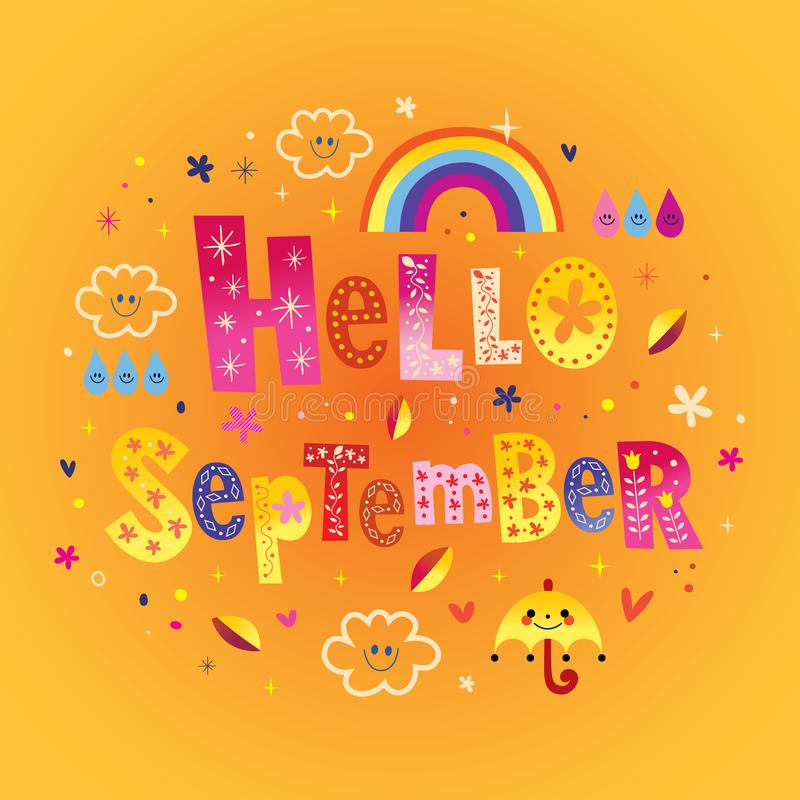 Γειά σου ευχετήρια κάρτα Σεπτεμβρίου απεικόνιση αποθεμάτων
