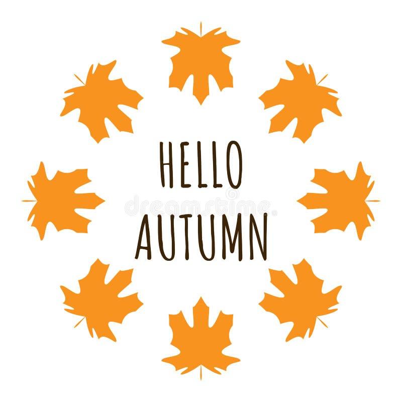 Γειά σου η αφίσα κειμένων φθινοπώρου της πτώσης φύλλων Σεπτεμβρίου ή το φθινοπωρινό φύλλωμα της πώλησης αγορών maplefor σχεδιάζει ελεύθερη απεικόνιση δικαιώματος
