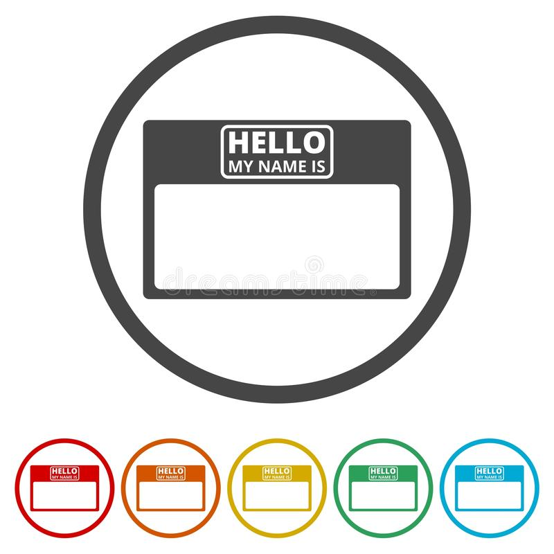 Γειά σου η κάρτα ονόματός μου, με τα διαστημικά εικονίδια αντιγράφων καθορισμένα, 6 χρώματα συμπεριλαμβανόμενα απεικόνιση αποθεμάτων