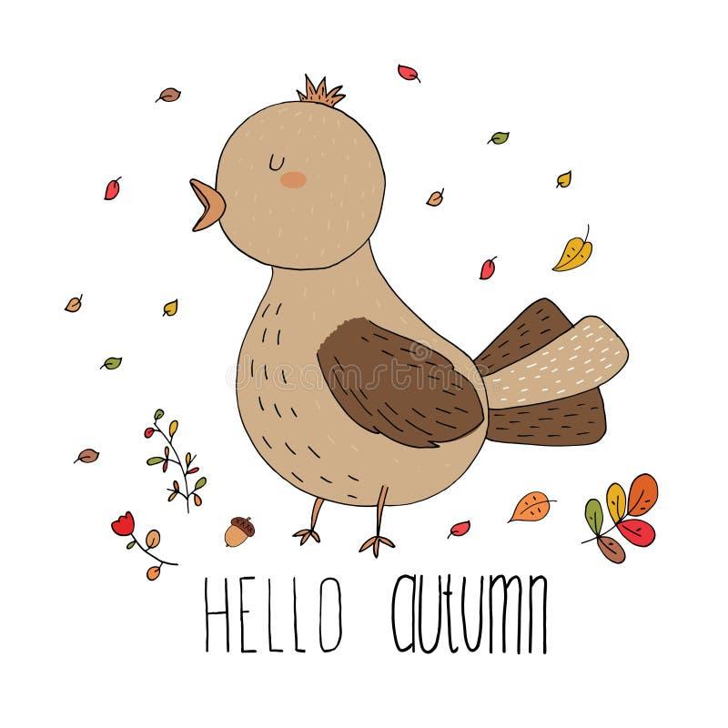 Γειά σου η κάρτα φθινοπώρου φιαγμένη από βγάζει φύλλα και πουλί στο διάνυσμα διανυσματική απεικόνιση
