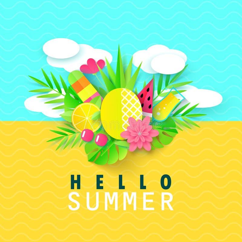 Γειά σου θερινό έμβλημα με τα γλυκά στοιχεία διακοπών ταξιδιού Τέχνη εγγράφου Τροπικές εγκαταστάσεις, λουλούδια, ανανάς, παγωτό απεικόνιση αποθεμάτων