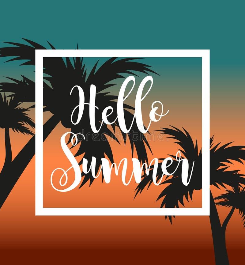 Γειά σου θερινό πρότυπο για την αφίσα στο άσπρο πλαίσιο σε ένα υπόβαθρο του ηλιοβασιλέματος και των φοινίκων Έννοια παραλιών, δια απεικόνιση αποθεμάτων