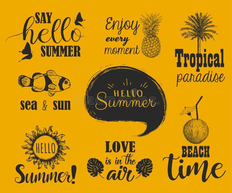 Γειά σου θερινό σύνολο Συλλογή της εγγραφής χεριών με το καλοκαίρι διανυσματική απεικόνιση