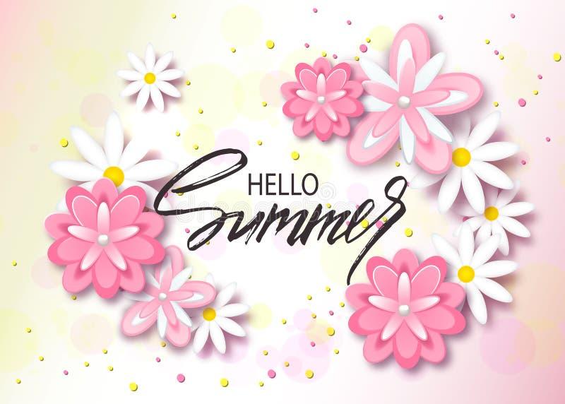 Γειά σου θερινό υπόβαθρο με τα όμορφα λουλούδια Ευχετήρια κάρτα με συρμένη τη χέρι εγγραφή Διανυσματικό πρότυπο απεικόνισης, εμβλ ελεύθερη απεικόνιση δικαιώματος