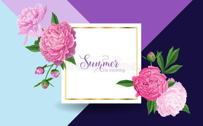 Γειά σου θερινό Floral σχέδιο με τα ρόδινα λουλούδια Peonies Βοτανικό υπόβαθρο για την αφίσα, έμβλημα, γαμήλια πρόσκληση διανυσματική απεικόνιση