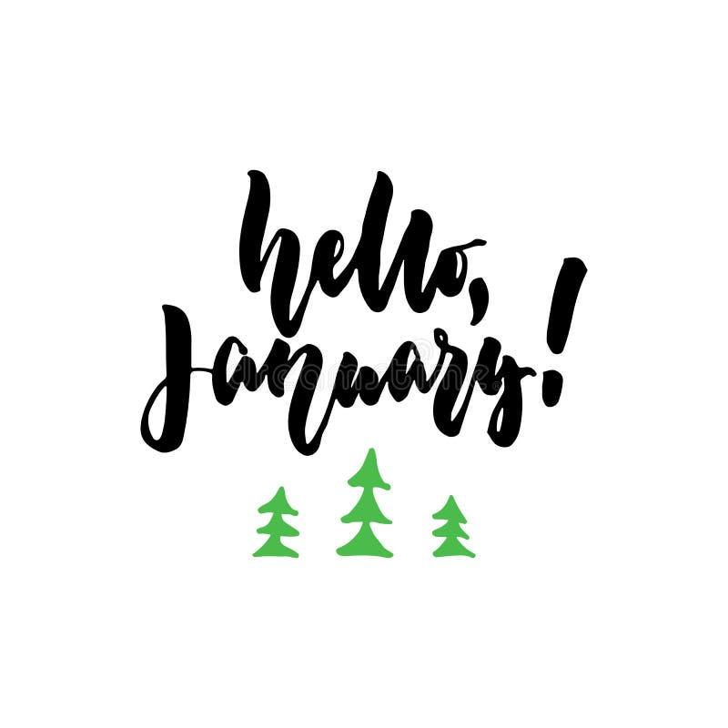 Γειά σου, Ιανουάριος - συρμένο χέρι απόσπασμα εγγραφής με το χριστουγεννιάτικο δέντρο που απομονώνεται στο άσπρο υπόβαθρο Μελάνι  απεικόνιση αποθεμάτων