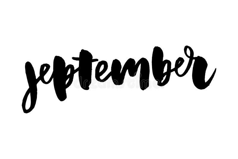 Γειά σου καλλιγραφία Σεπτεμβρίου Ευχετήρια κάρτα φθινοπώρου Hand-drawn απεικόνιση αποθεμάτων