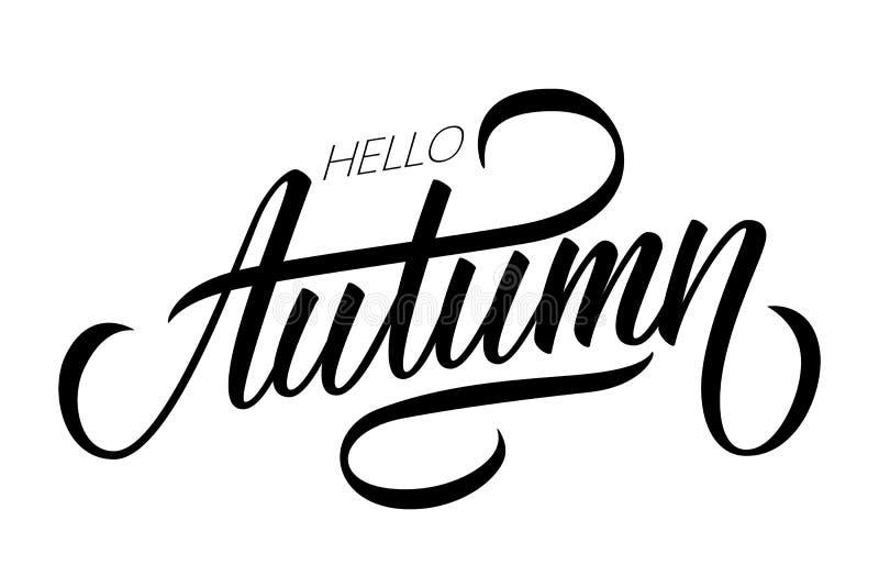 Γειά σου καλλιγραφικό σχέδιο κειμένων εγγραφής φθινοπώρου Δημιουργική τυπογραφία για το σχέδιό σας διανυσματική απεικόνιση
