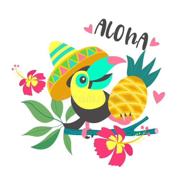 Γειά σου καλοκαίρι αλόης Χαριτωμένα αστεία κινούμενα σχέδια Toucan Τροπικά paradis απεικόνιση αποθεμάτων