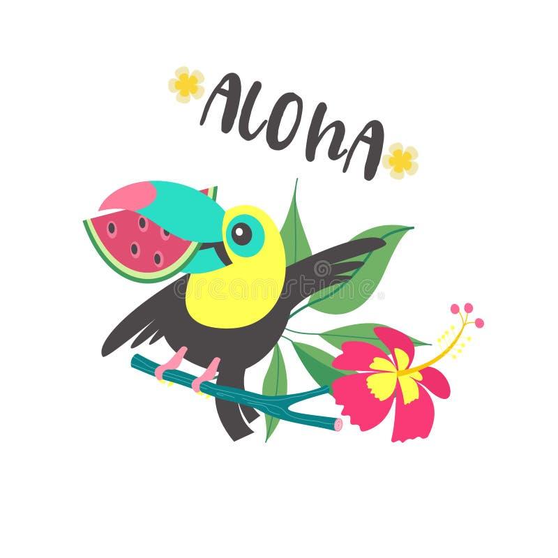 Γειά σου καλοκαίρι αλόης Χαριτωμένα αστεία κινούμενα σχέδια Toucan Τροπικά paradis ελεύθερη απεικόνιση δικαιώματος