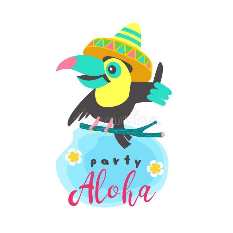 Γειά σου καλοκαίρι αλόης Χαριτωμένα αστεία κινούμενα σχέδια Toucan Τροπικά paradis διανυσματική απεικόνιση
