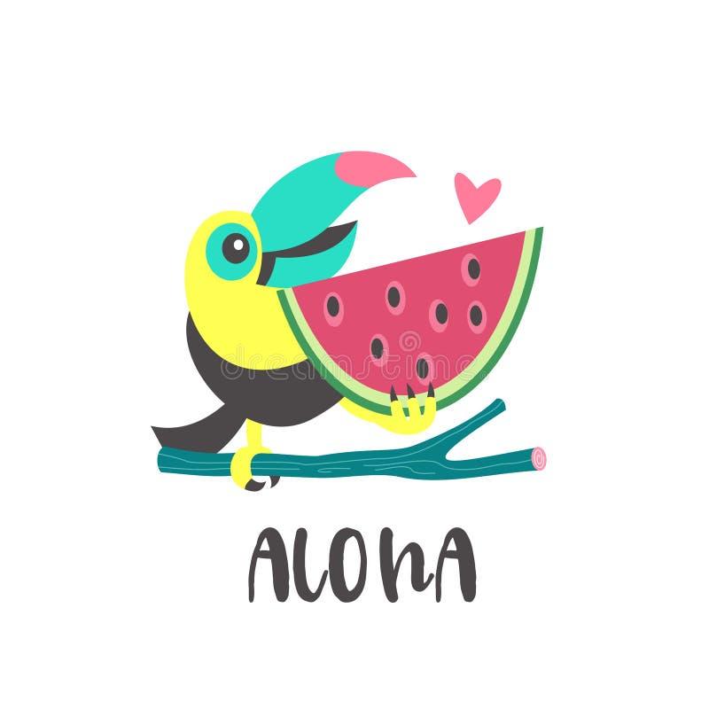 Γειά σου καλοκαίρι αλόης Χαριτωμένο εύθυμο Toucan Ζωηρόχρωμο διανυσματικό illus ελεύθερη απεικόνιση δικαιώματος