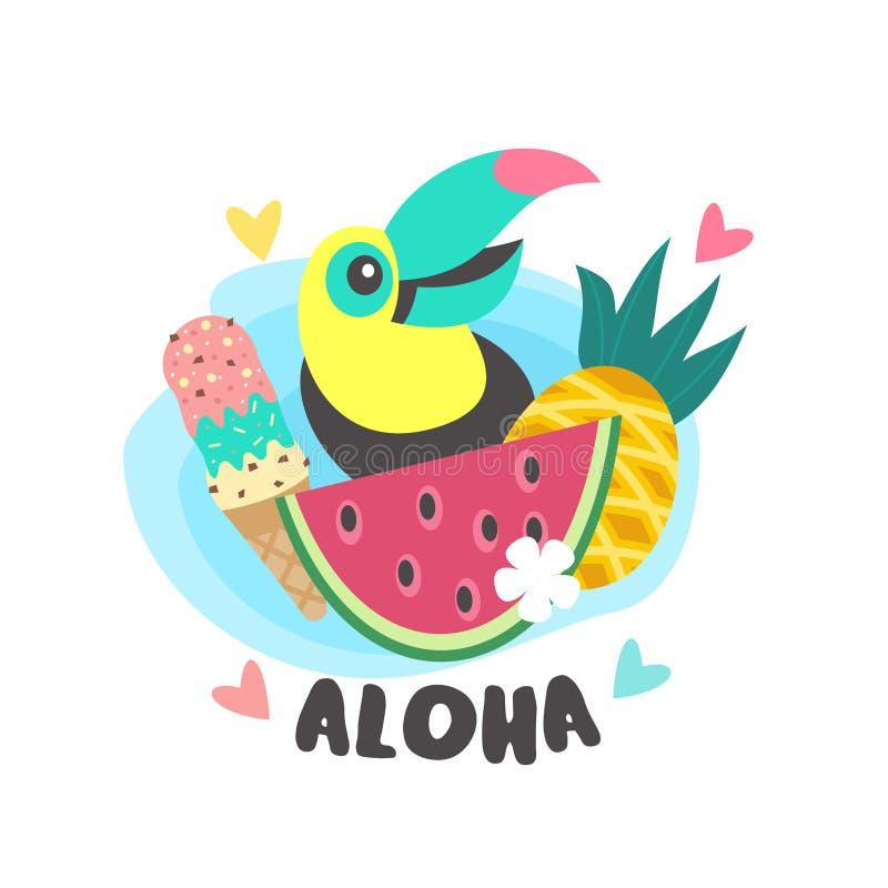 Γειά σου καλοκαίρι αλόης Χαριτωμένο εύθυμο Toucan Ζωηρόχρωμο διανυσματικό illus απεικόνιση αποθεμάτων