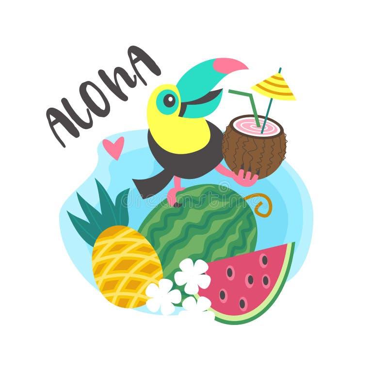 Γειά σου καλοκαίρι αλόης Χαριτωμένο εύθυμο Toucan Ζωηρόχρωμο διανυσματικό illus διανυσματική απεικόνιση