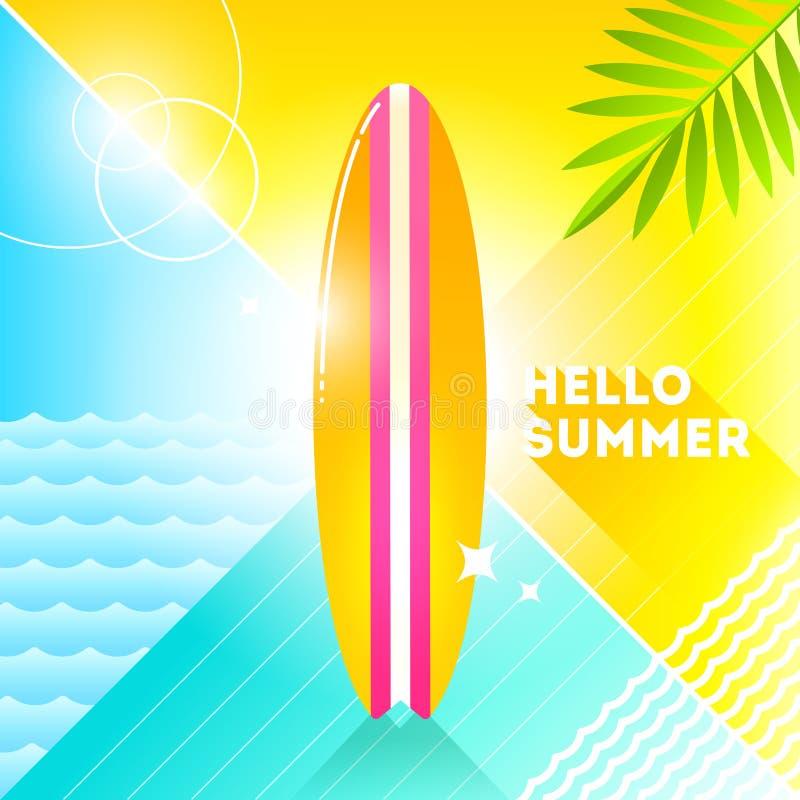 Γειά σου καλοκαίρι - απεικόνιση Sufrboard σε ένα αφηρημένο υπόβαθρο αναδρομική απεικόνιση ύφους 80 ` s Τροπικό επίπεδο σχέδιο δια διανυσματική απεικόνιση