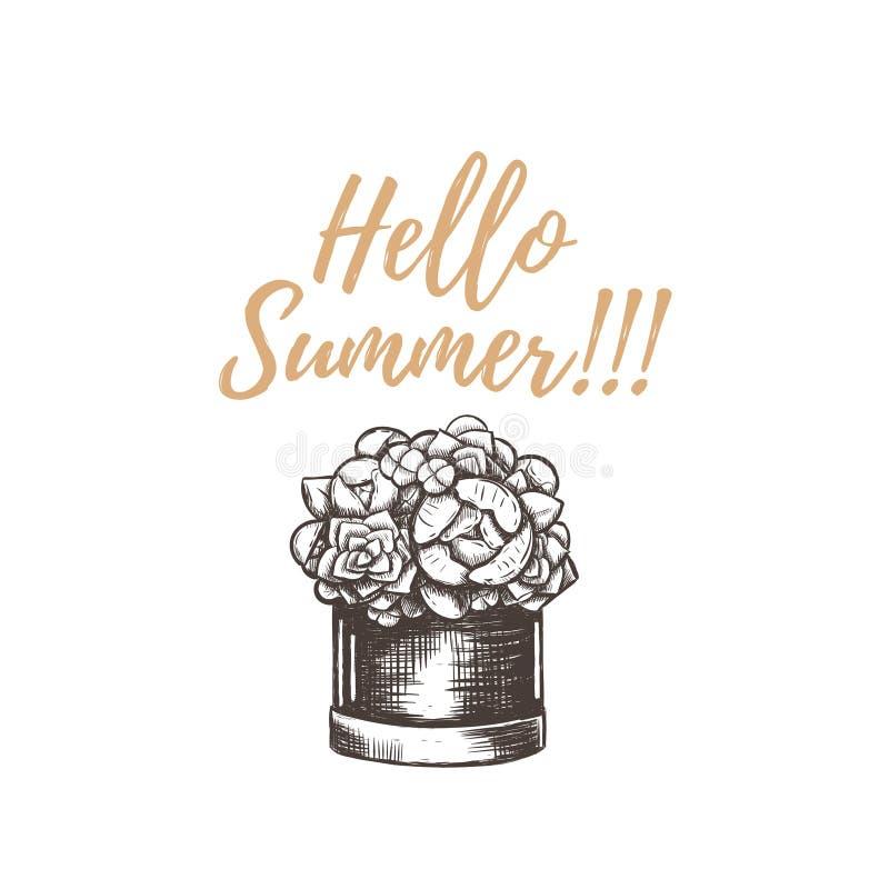 Γειά σου καλοκαίρι! Διανυσματικό σχέδιο χεριών απεικόνισης ελεύθερη απεικόνιση δικαιώματος