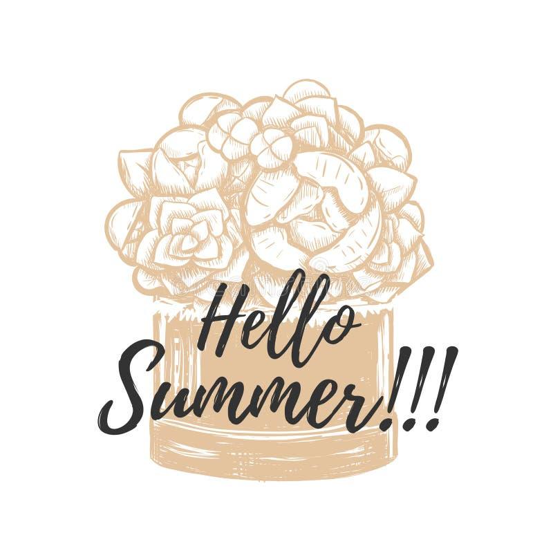 Γειά σου καλοκαίρι! Διανυσματικό σχέδιο χεριών απεικόνισης διανυσματική απεικόνιση