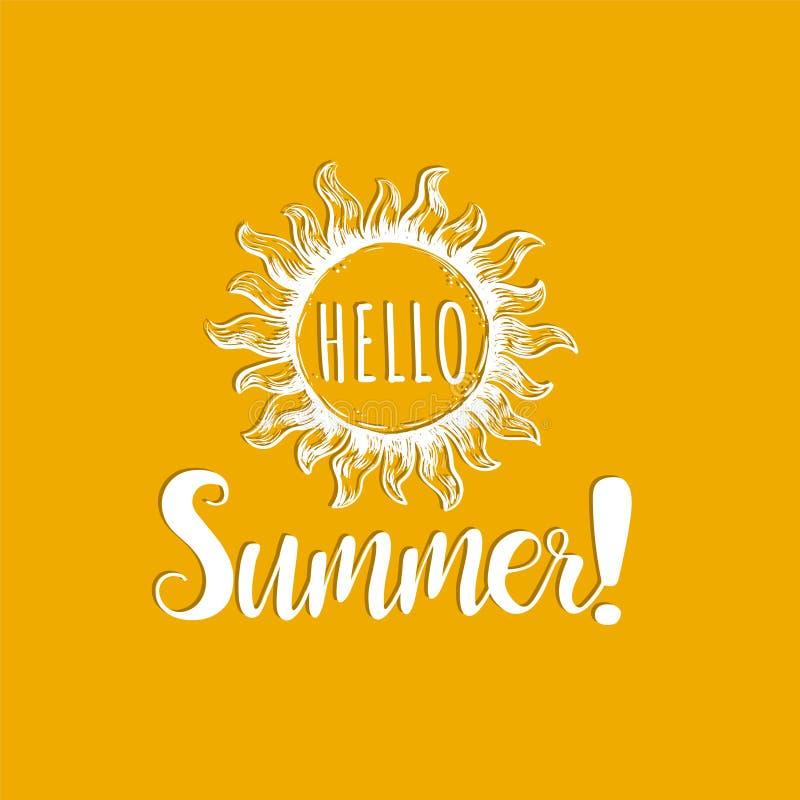 Γειά σου καλοκαίρι, εγγραφή χεριών διανυσματική απεικόνιση