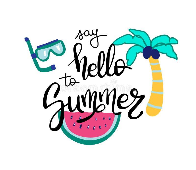 Γειά σου καλοκαίρι Θερινό απόσπασμα Χειρόγραφος για τις ευχετήριες κάρτες διακοπών συρμένος εικονογράφος απεικόνισης χεριών ξυλάν διανυσματική απεικόνιση