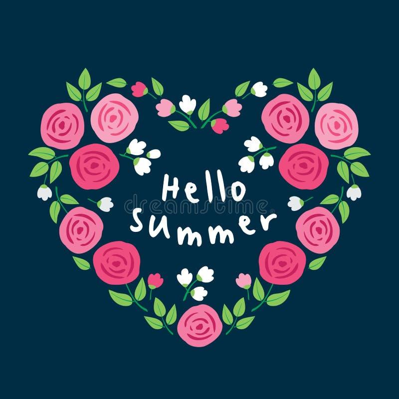 Γειά σου καλοκαίρι Καρδιά των ρόδινων τριαντάφυλλων ελεύθερη απεικόνιση δικαιώματος