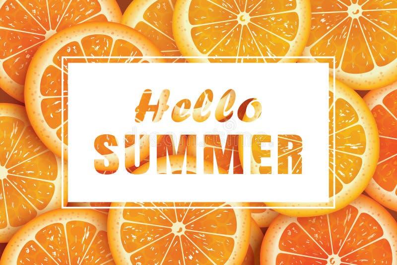 Γειά σου καλοκαίρι στο πορτοκαλί υπόβαθρο φετών Χρήση για τη ευχετήρια κάρτα, απεικόνιση αποθεμάτων