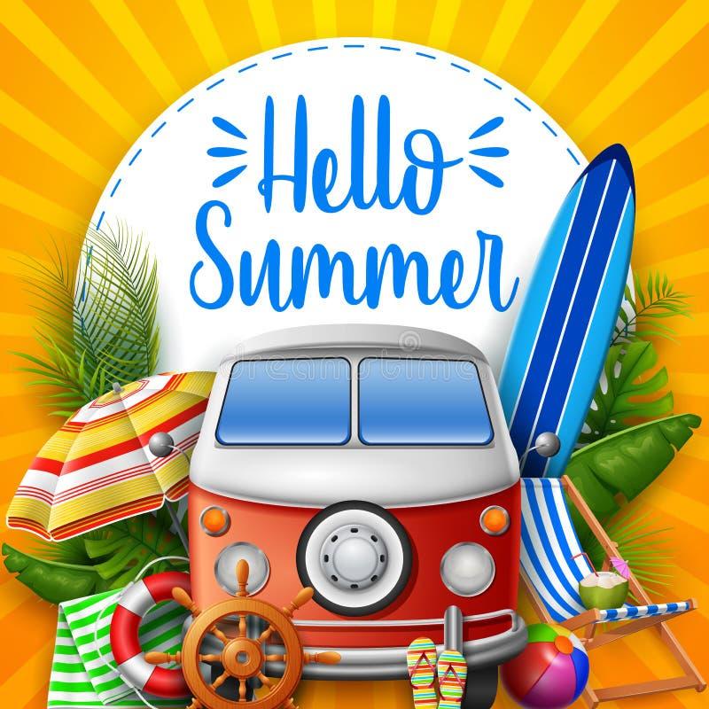 Γειά σου καλοκαίρι Φορτηγό τροχόσπιτων διανυσματική απεικόνιση