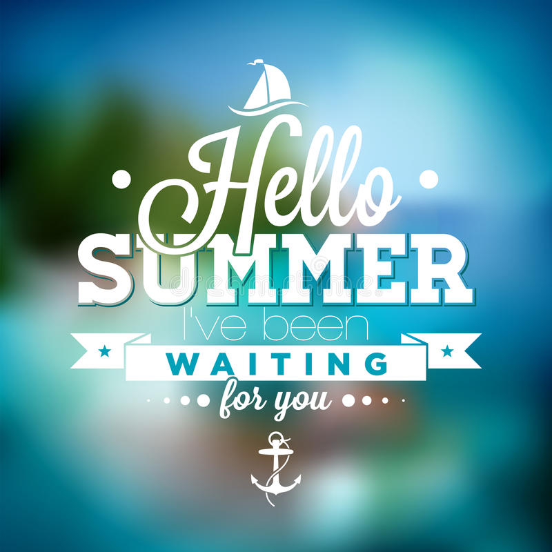 Γειά σου καλοκαίρι, έχω περιμένει σας το απόσπασμα έμπνευσης στο θολωμένο ωκεάνιο υπόβαθρο τοπίων ελεύθερη απεικόνιση δικαιώματος