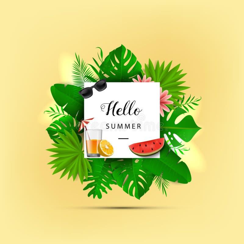 Γειά σου καλοκαίρι επίσης corel σύρετε το διάνυσμα απεικόνισης Θερινό έμβλημα με το τρισδιάστατο της Χαβάης φύλλο στο κίτρινο υπό ελεύθερη απεικόνιση δικαιώματος