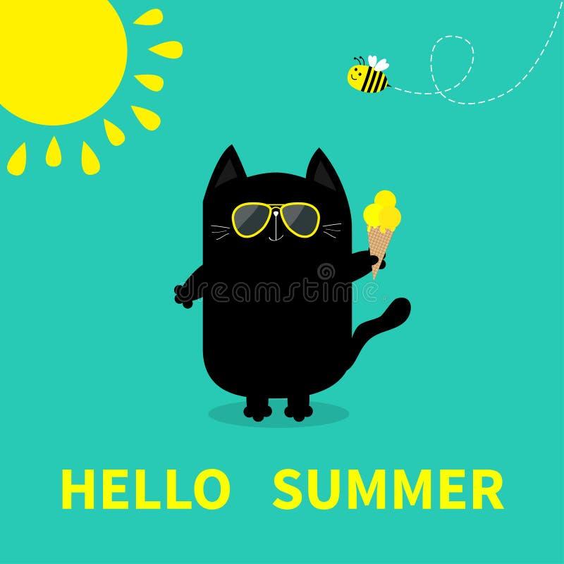 Γειά σου καλοκαίρι Μαύρο παγωτό εκμετάλλευσης γατών Κίτρινος ήλιος που λάμπει, γυαλιά ηλίου Έντομο μελισσών Χαριτωμένος χαρακτήρα απεικόνιση αποθεμάτων