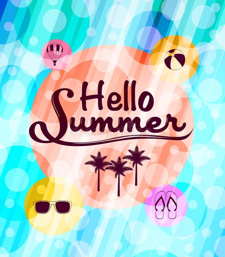 Γειά σου καλοκαίρι με τα θερινά εικονίδια σε μια όμορφη περίληψη ελεύθερη απεικόνιση δικαιώματος