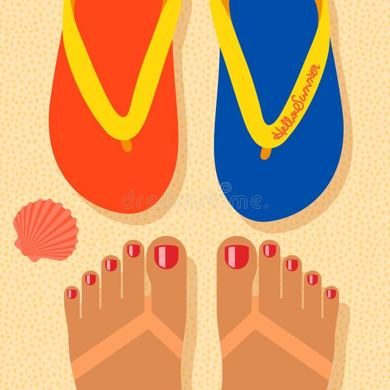 Γειά σου καλοκαίρι, μόνα πόδια βλαστών στην παραλία απεικόνιση αποθεμάτων