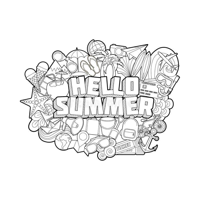 Γειά σου καλοκαίρι - στοιχεία εγγραφής και Doodles χεριών διανυσματική απεικόνιση