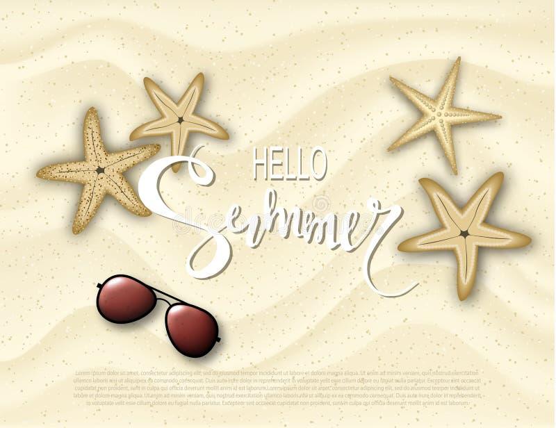 Γειά σου καλοκαίρι Υπόβαθρο με τον αστερία και γυαλιά ηλίου στην άμμο Διανυσματικό EPS 10 απεικόνισης σχήμα διάνυσμα ελεύθερη απεικόνιση δικαιώματος