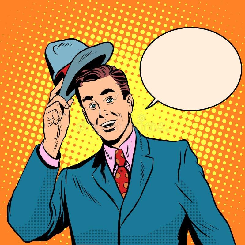 Γειά σου καλωσορίζει το άτομο αυξάνει το καπέλο του διανυσματική απεικόνιση
