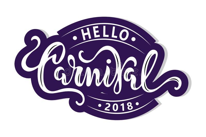 Γειά σου κείμενο καρναβαλιού ως logotype, διακριτικό, μπάλωμα και εικονίδιο που απομονώνονται στο άσπρο υπόβαθρο απεικόνιση αποθεμάτων