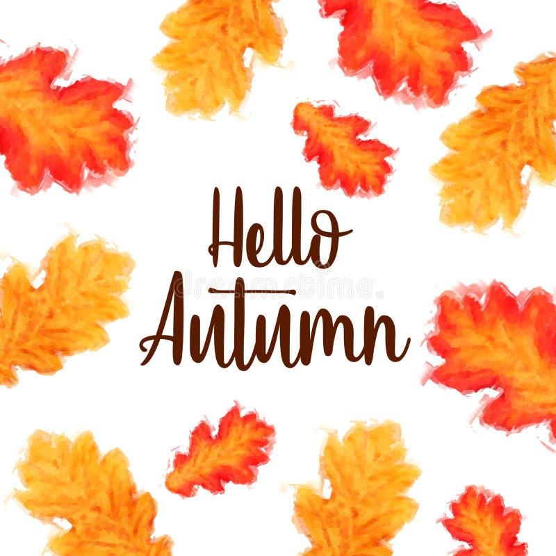 Γειά σου κείμενο φθινοπώρου με τα φύλλα watercolor πέρα από το λευκό στοκ εικόνες