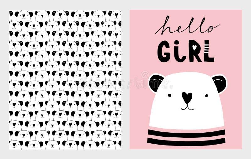 Γειά σου κορίτσι Χαριτωμένες συρμένες χέρι διανυσματικές απεικονίσεις ντους μωρών καθορισμένες Ρόδινο, άσπρο και μαύρο παιδικό σχ διανυσματική απεικόνιση