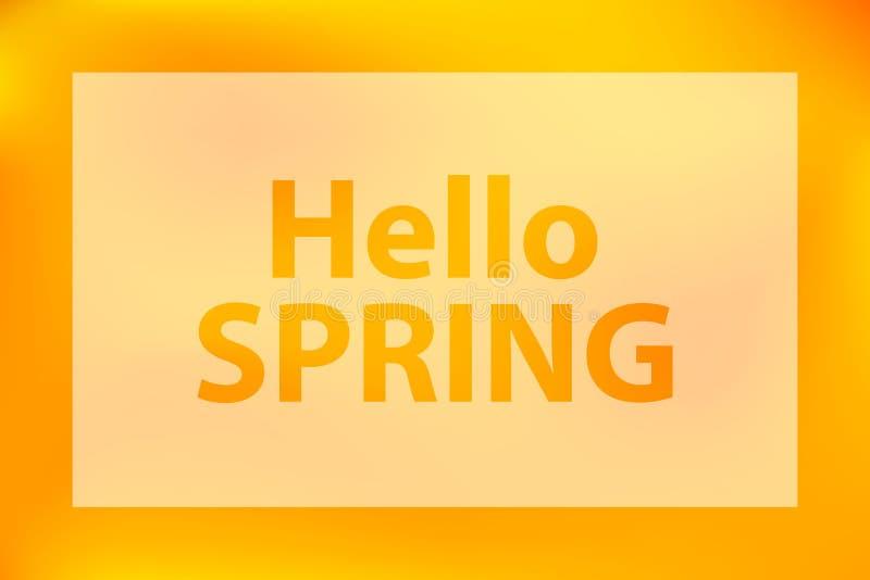 Γειά σου λέξεις άνοιξη σε ένα φωτεινό κίτρινο θολωμένο πορτοκάλι υπόβ απεικόνιση αποθεμάτων