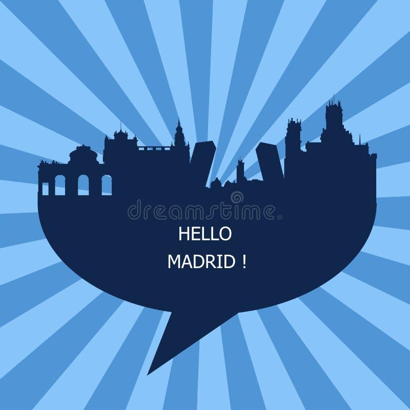 Γειά σου Μαδρίτη, ταξίδι στη Μαδρίτη απεικόνιση αποθεμάτων