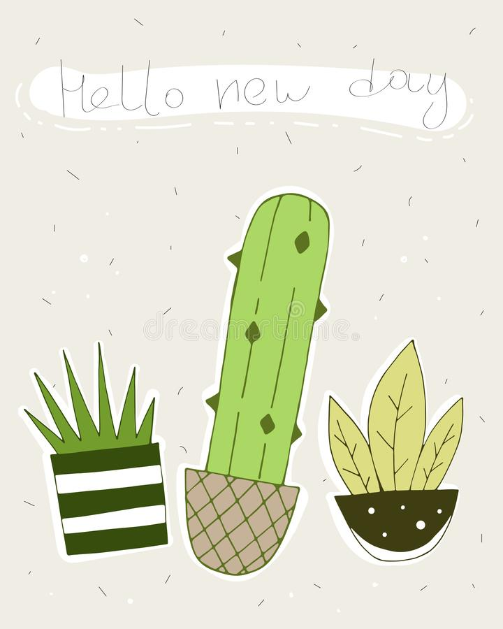 Γειά σου νέα ημέρα διανυσματική κάρτα με τους χαριτωμένους κάκτους διανυσματική απεικόνιση