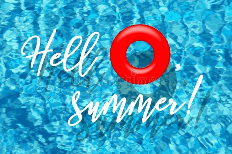Γειά σου, οι θερινές λέξεις με το κόκκινο κολυμπώντας δαχτυλίδι στην μπλε λίμνη ποτίζουν το υπόβαθρο επίσης corel σύρετε το διάνυ απεικόνιση αποθεμάτων