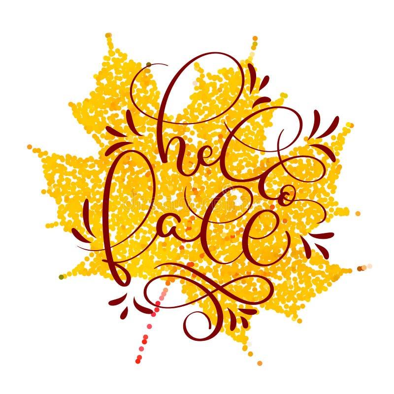 Γειά σου πέστε κείμενο στο κίτρινο φύλλο φθινοπώρου Συρμένη χέρι καλλιγραφία που γράφει τη διανυσματική απεικόνιση EPS10 ελεύθερη απεικόνιση δικαιώματος