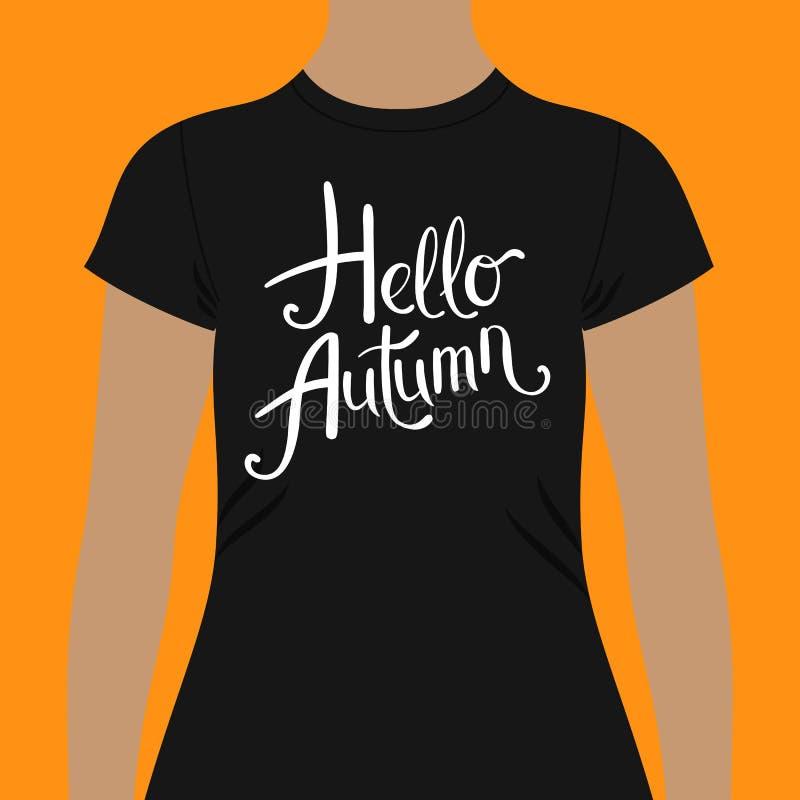 Γειά σου πρότυπο σχεδίου μπλουζών φθινοπώρου με το απλό ρέοντας άσπρο κείμενο απεικόνιση αποθεμάτων