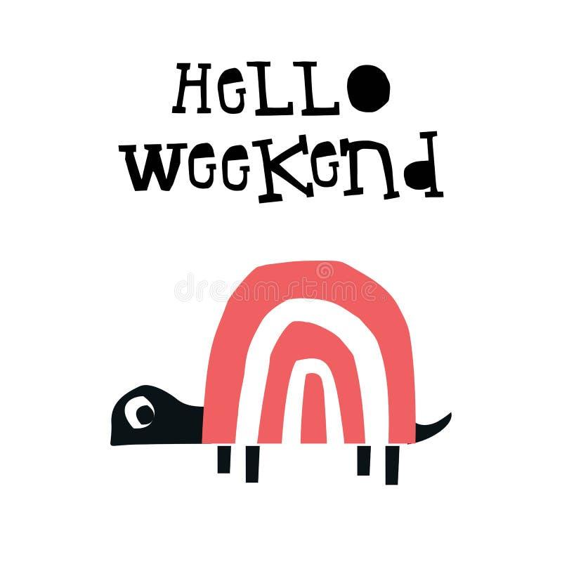 Γειά σου Σαββατοκύριακο - αφίσα θερινών παιδιών με μια χελώνα που αποκόπτει του εγγράφου και συρμένης της χέρι εγγραφής επίσης co ελεύθερη απεικόνιση δικαιώματος
