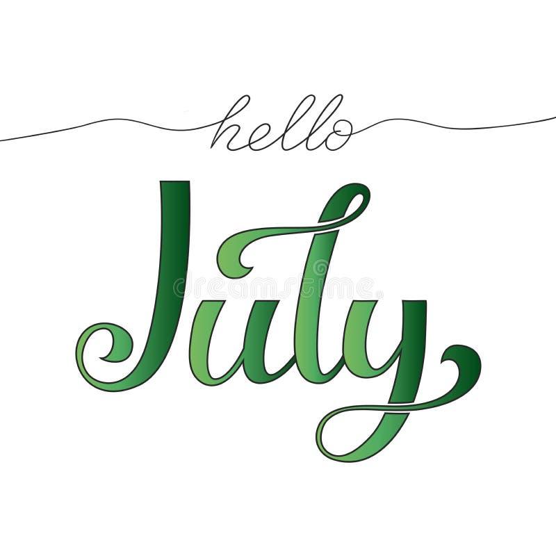 Γειά σου συρμένη χέρι εγγραφή Ιουλίου r ελεύθερη απεικόνιση δικαιώματος