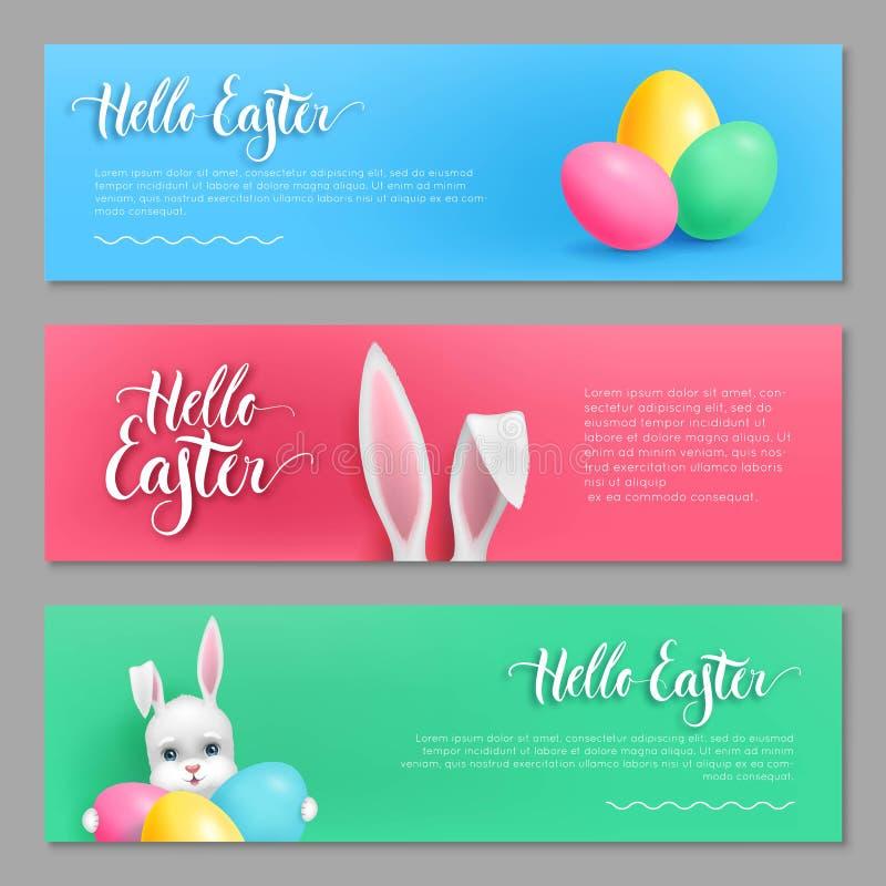 Γειά σου σύνολο λαγουδάκι καρτών Πάσχας απεικόνιση αποθεμάτων