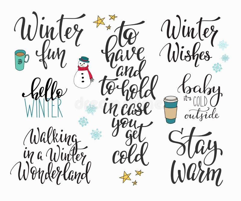 Γειά σου σύνολο τυπογραφίας χειμερινής εποχής απεικόνιση αποθεμάτων